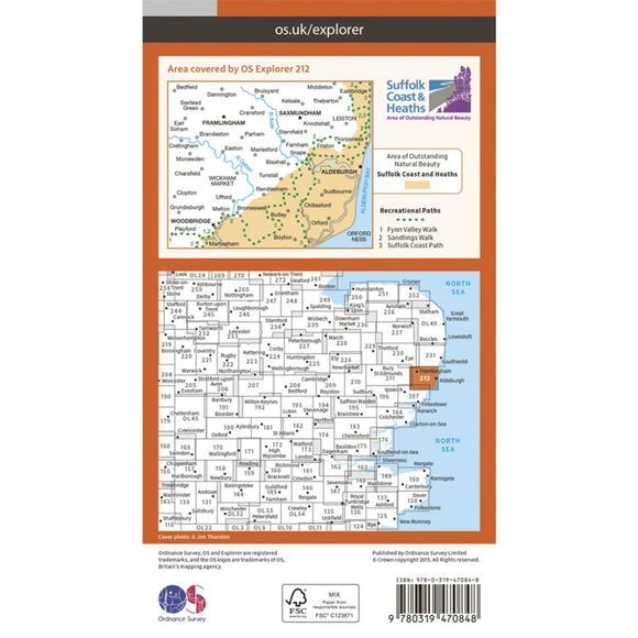 Active Explorer Map 212 Woodbridge and Saxmundham