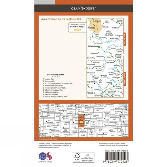 Ordnance Survey Active Explorer Map 220 Birmingham V15