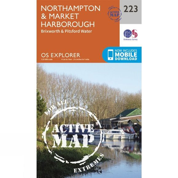 Ordnance Survey Active Explorer Map 223 Northampton and Market Harborough V15