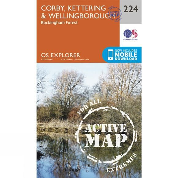 Active Explorer Map 224 Corby, Kettering and Wellingborough
