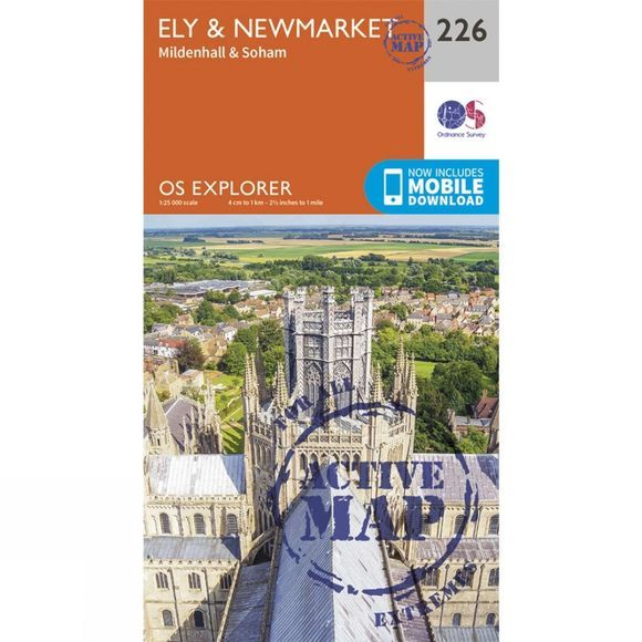 Ordnance Survey Active Explorer Map 226 Ely and Newmarket V15