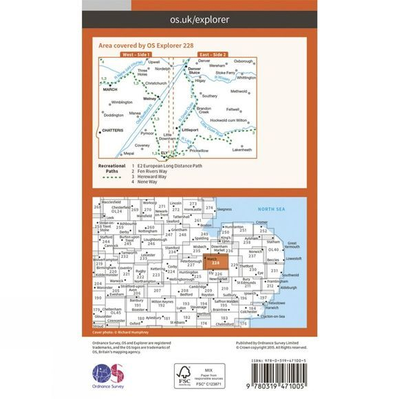 Ordnance Survey Active Explorer Map 228 March and Ely V15