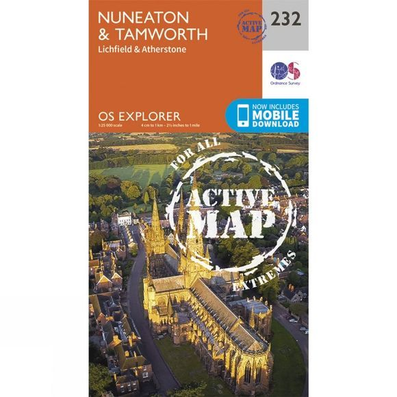 Ordnance Survey Active Explorer Map 232 Nuneaton and Tamworth V15