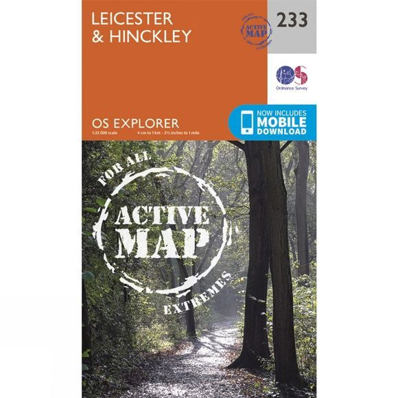 Ordnance Survey Active Explorer Map 233 Leicester and Hinckley V15