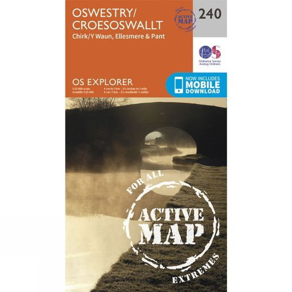 Ordnance Survey Active Explorer Map 240 Oswestry V15