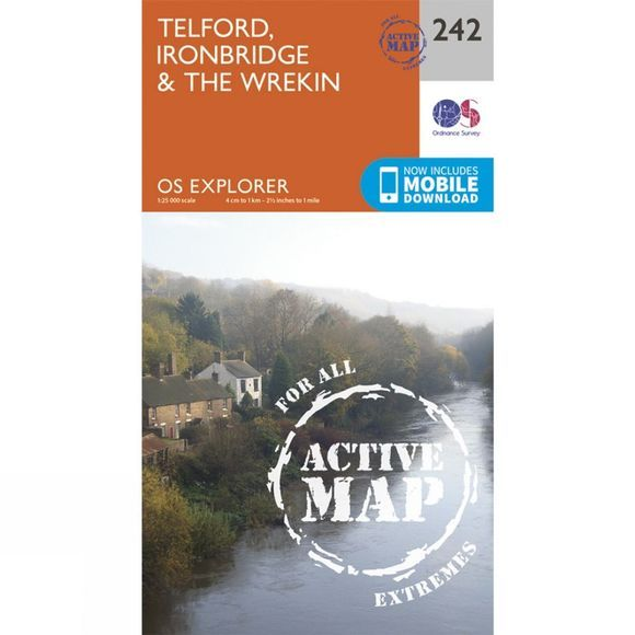 Ordnance Survey Active Explorer Map 242 Telford, Ironbridge and The Wrekin V15