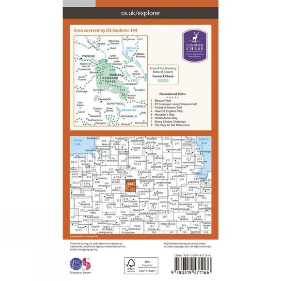 Active Explorer Map 244 Cannock Chase and Chasewater