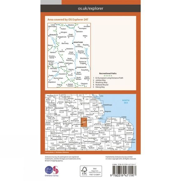 Ordnance Survey Active Explorer Map 247 Grantham V15