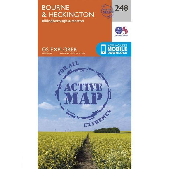 Ordnance Survey Active Explorer Map 248 Bourne and Heckington V15