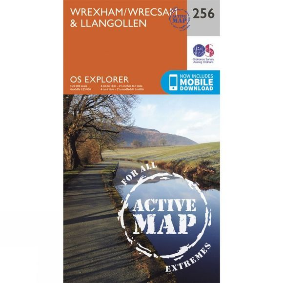 Ordnance Survey Active Explorer Map 256 Wrexham and Llangollen V15