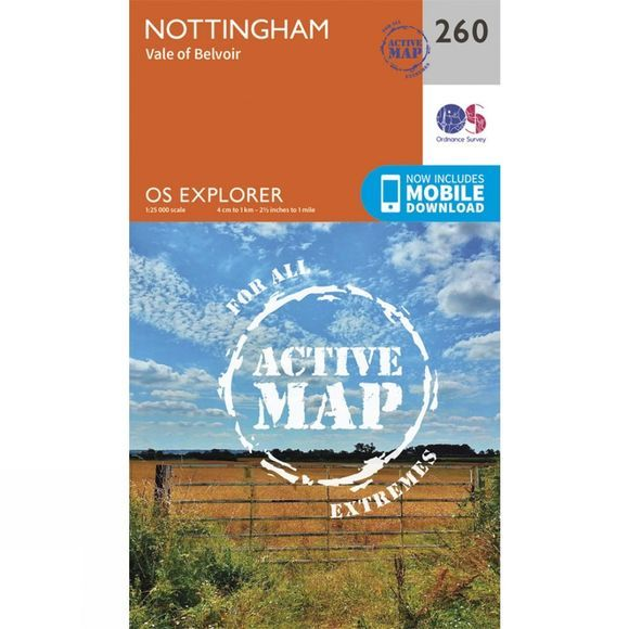 Ordnance Survey Active Explorer Map 260 Nottingham V15
