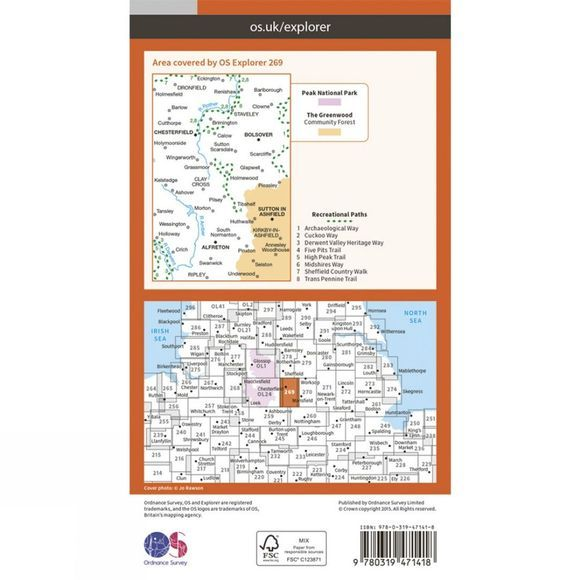 Ordnance Survey Active Explorer Map 269 Chesterfield and Alferton V15