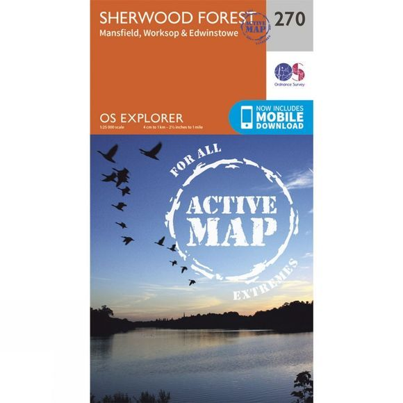 Ordnance Survey Active Explorer Map 270 Sherwood Forest V15