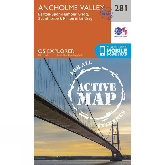 Ordnance Survey Active Explorer Map 281 Ancholme Valley V15