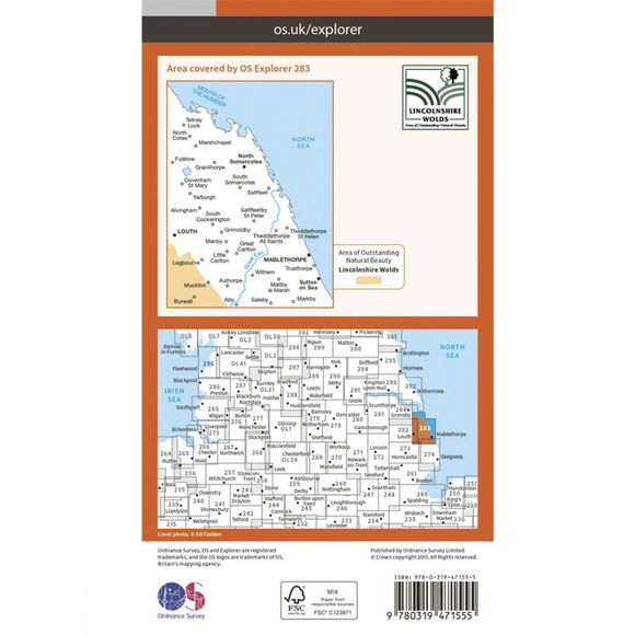 Ordnance Survey Active Explorer Map 283 Louth and Mablethorpe V15