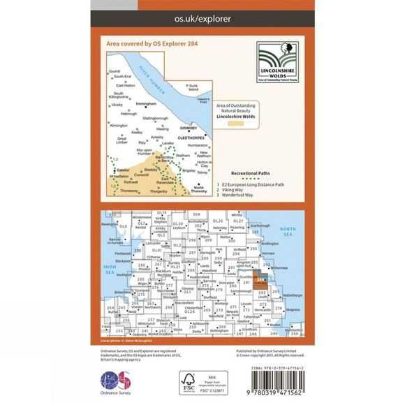 Active Explorer Map 284 Grimsby, Cleethorpes and Immingham