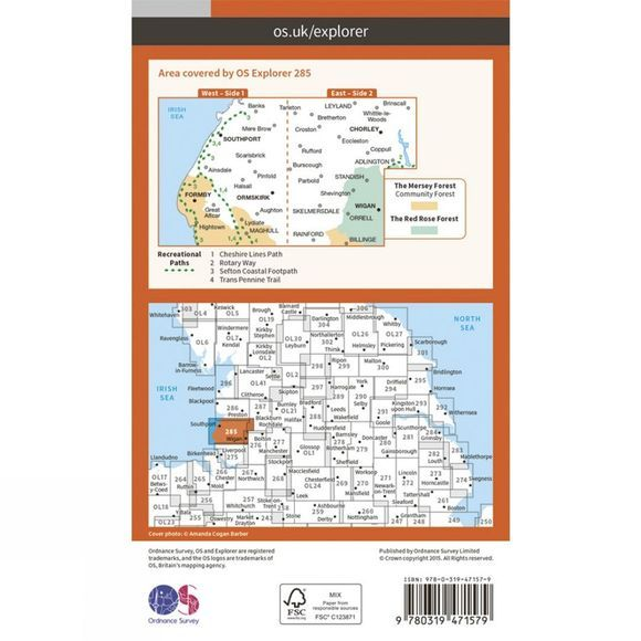 Ordnance Survey Active Explorer Map 285 Southport and Chorley V15