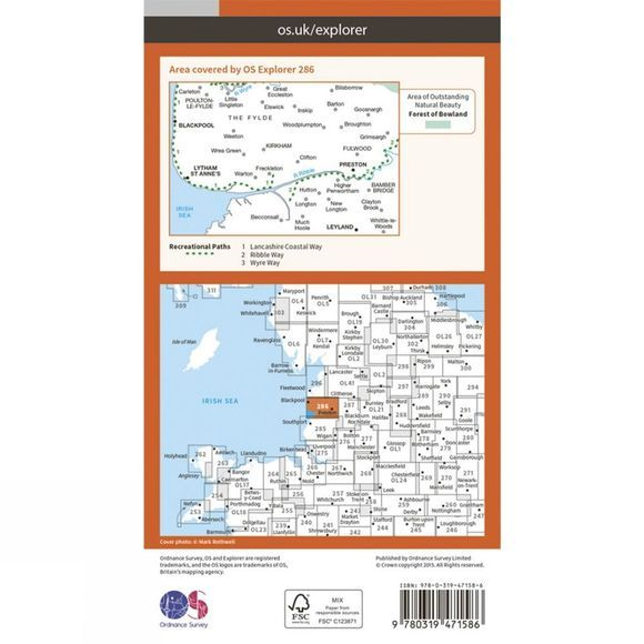 Active Explorer Map 286 Blackpool and Preston