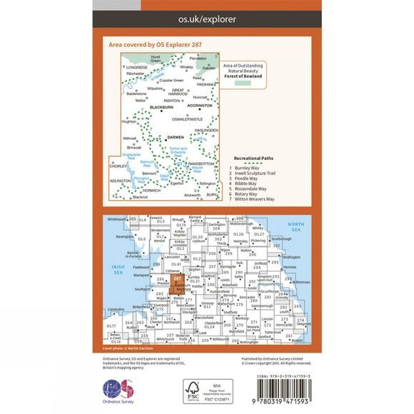 Ordnance Survey Active Explorer Map 287 West Pennine Moors V15