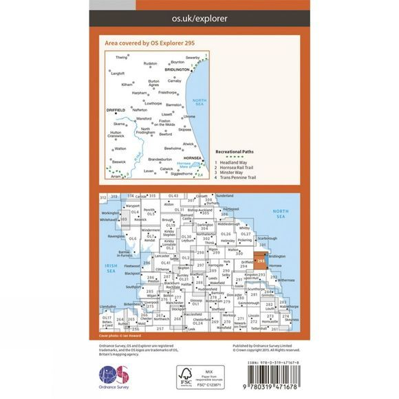 Ordnance Survey Active Explorer Map 295 Bridlington, Driffield and Hornsea V15