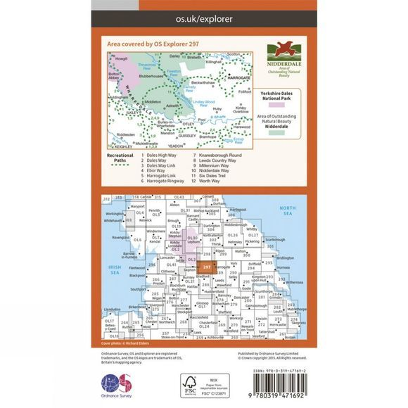 Active Explorer Map 297 Lower Wharfedale and Washburn Valley