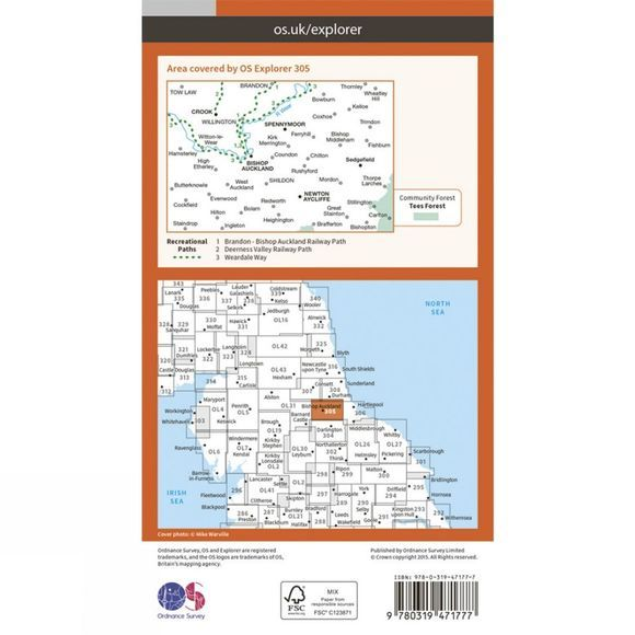 Ordnance Survey Active Explorer Map 305 Bishop Auckland V15
