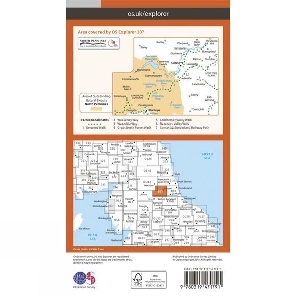 Ordnance Survey Active Explorer Map 307 Consett and Derwent Reservoir V15