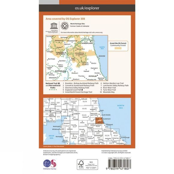 Ordnance Survey Active Explorer Map 308 Durham and Sunderland V15