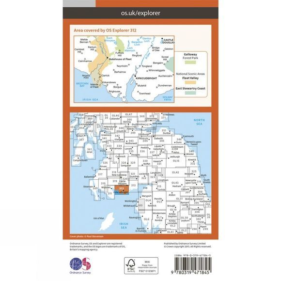 Ordnance Survey Active Explorer Map 312 Kirkcudbright and Castle Douglas V15