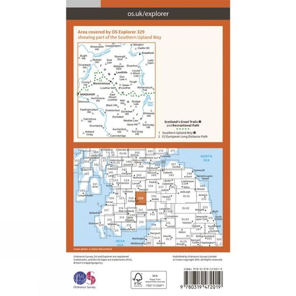 Ordnance Survey Active Explorer Map 329 Lowther Hills, Sanquhar and Leadhills V15