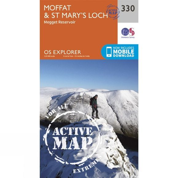 Ordnance Survey Active Explorer Map 330 Moffat and St Mary's Loch V15