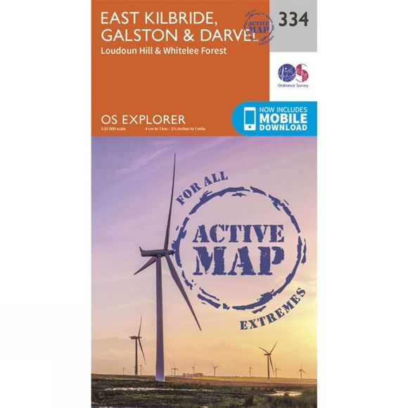Ordnance Survey Active Explorer Map 334 East Kilbride, Galston and Darvel V15