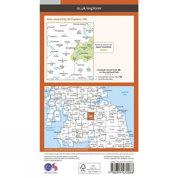 Ordnance Survey Active Explorer Map 336 Biggar and Broughton V15