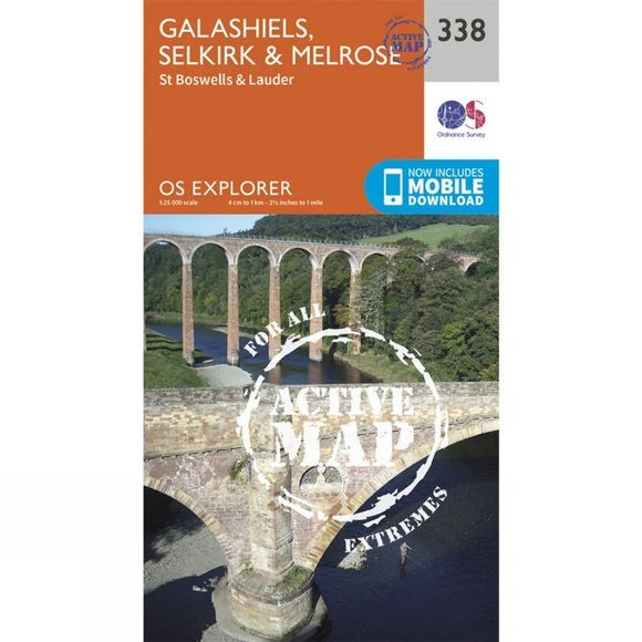 Ordnance Survey Active Explorer Map 338 Galashiels, Selkirk and Melrose V15