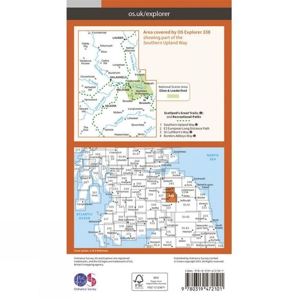 Active Explorer Map 338 Galashiels, Selkirk and Melrose