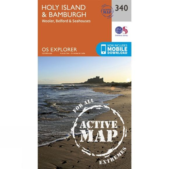 Ordnance Survey Active Explorer Map 340 Holy Island and Bamburgh V15