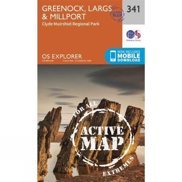 Ordnance Survey Active Explorer Map 341 Greenock, Largs and Millport V15