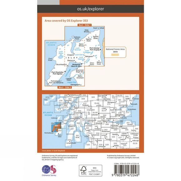 Ordnance Survey Active Explorer Map 353 Islay North V15