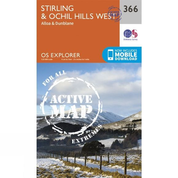 Ordnance Survey Active Explorer Map 366 Stirling and Ochil Hills West V15