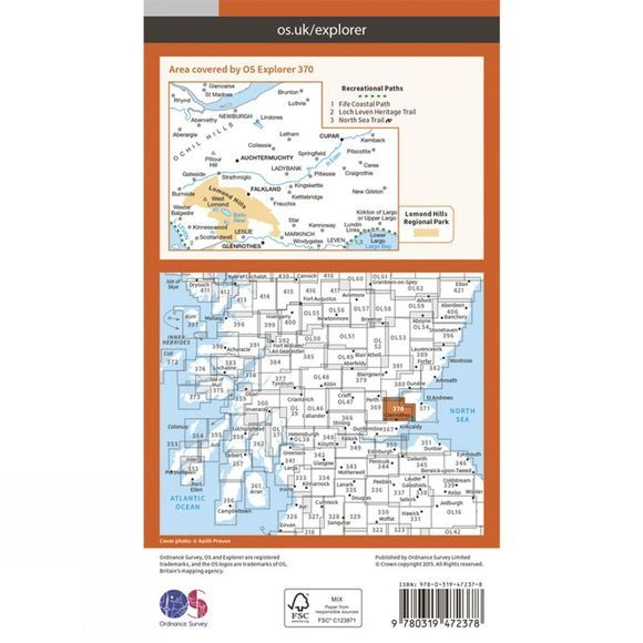 Ordnance Survey Active Explorer Map 370 Glenrothes North, Falkland and Lomond Hills V15