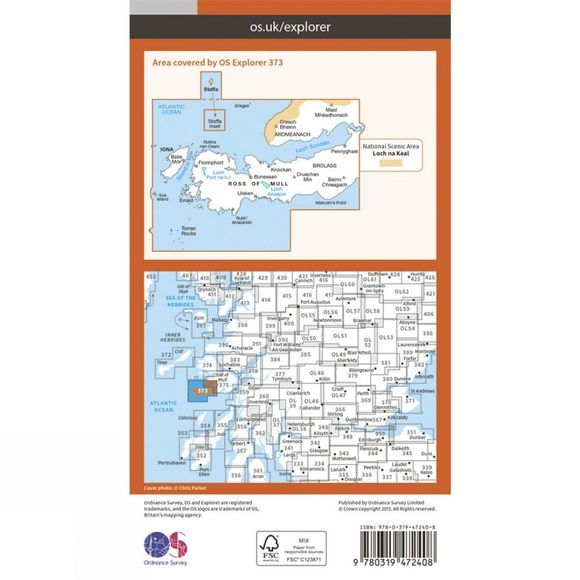 Ordnance Survey Active Explorer Map 373 Iona, Staffa and Ross of Mull V15