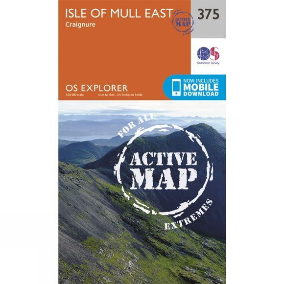 Ordnance Survey Active Explorer Map 375 Isle of Mull East V15