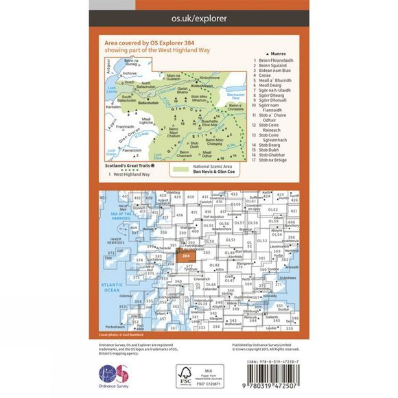 Ordnance Survey Active Explorer Map 384 Glen Coe and Glen Etive V15
