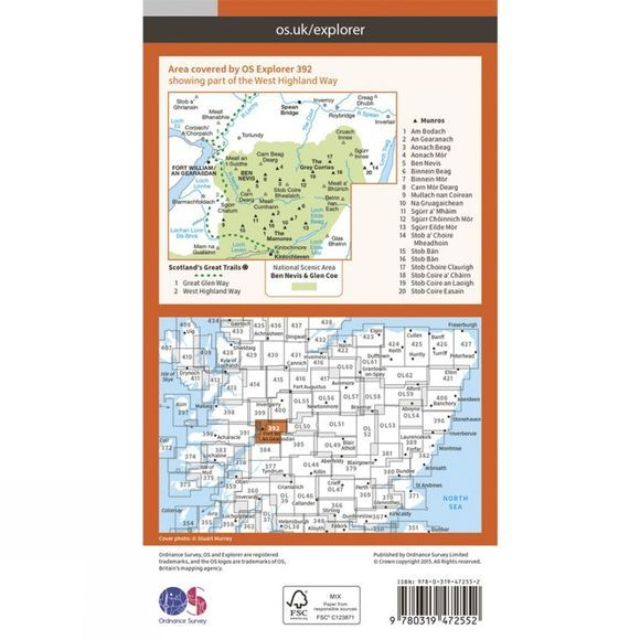 Ordnance Survey Active Explorer Map 392 Ben Nevis and Fort William V15