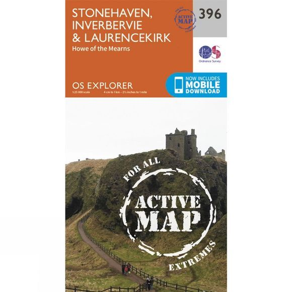 Ordnance Survey Active Explorer Map 396 Stonehaven, Inverbervie and Laurencekirk V15