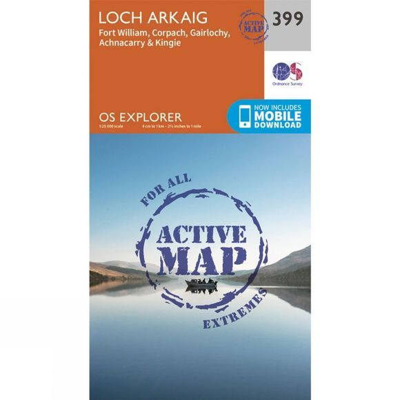 Ordnance Survey Active Explorer Map 399 Loch Arkaig V15