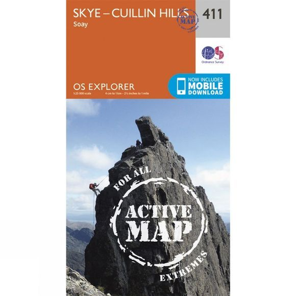 Ordnance Survey Active Explorer Map 411 Skye - Cuillin Hills V15