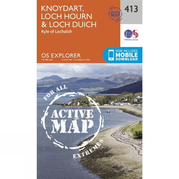 Ordnance Survey Active Explorer Map 413 Knoydart, Loch Hourn and Loch Duich V15