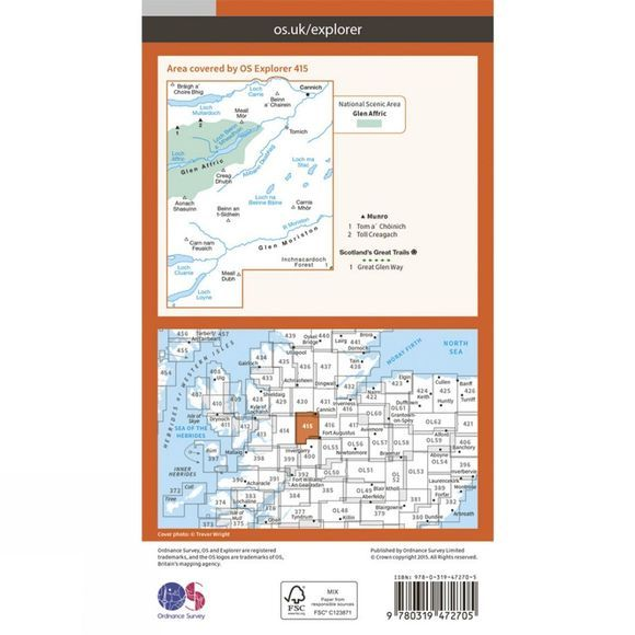 Ordnance Survey Active Explorer Map 415 Glen Affric and Glen Moriston V15