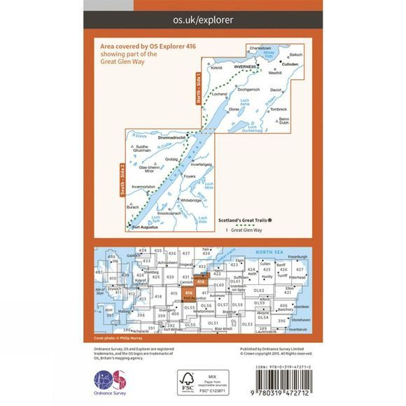 Ordnance Survey Active Explorer Map 416 Inverness, Loch Ness and Culloden V15